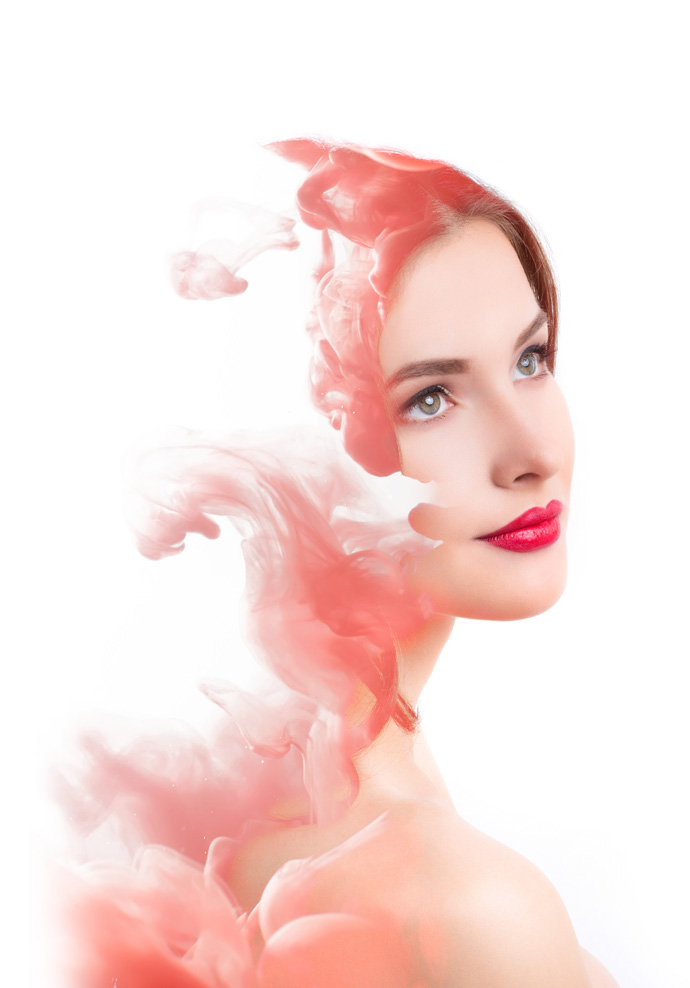 Double exposure woman and cloud of red smoke. Creative portrait.